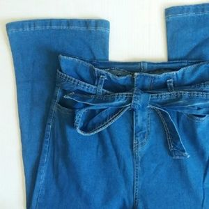 Denim - 1970's style high rise jeans with belt